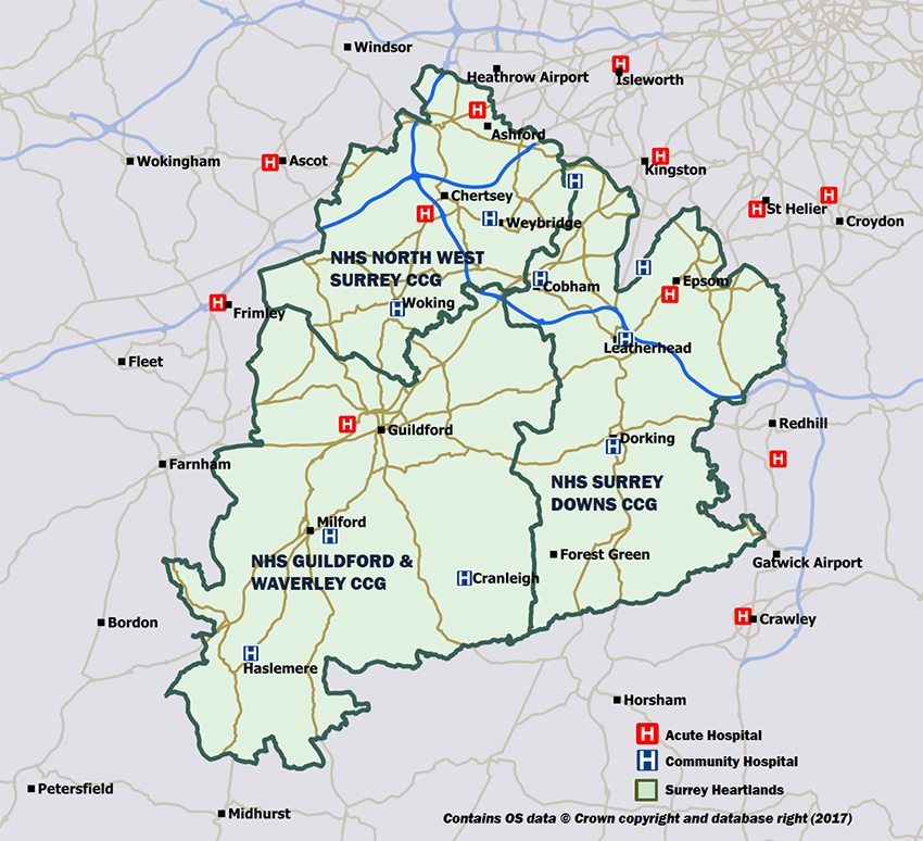 A local area map showing the Surrey Heartlands healthcare providers